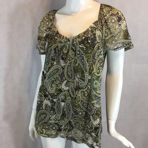 Apt. 9 Green Paisley sheer blouse top size M